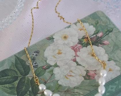 שרשרת זהב עם פנינים - שרשרת לכלה