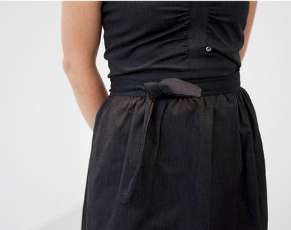 שמלת סטרפלס רשת שחורה