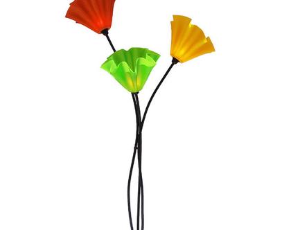 מנורה עומדת פרח שלושה קנים