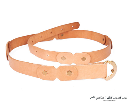 חגורת עור בצבע ניוד / קאמל עם אבזם וינטג' זהוב / מתנות נשים / חגורות מעוצבות / חגורה לשמלה / חגורות נשים