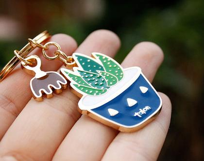 מחזיק מפתחות - קקטוס בעציץ כחול