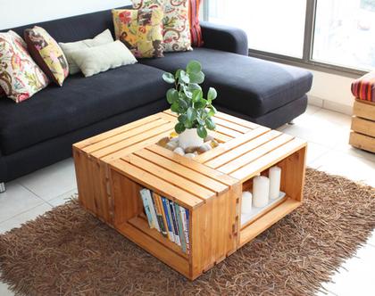 שולחן סלון מעוצב מארגזים- דגם ״אנדריאה״ גוון 20