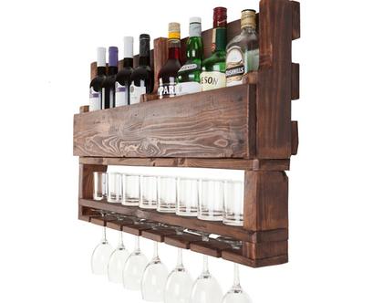 בר יין וויסקי מעוצב ממשטח דגם ״רפאל״ עץ ממוחזר, בר בייתי, בר משקאות, מדף לאלכוהול, מדף לבקבוקים.