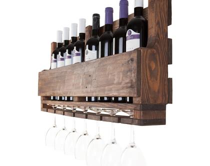 בר יין מעוצב ממשטח- עץ ממוחזר-דגם ״דנה״, בר יין, מדף ליין, מתלה לכוסות, מתנה מיוחדת