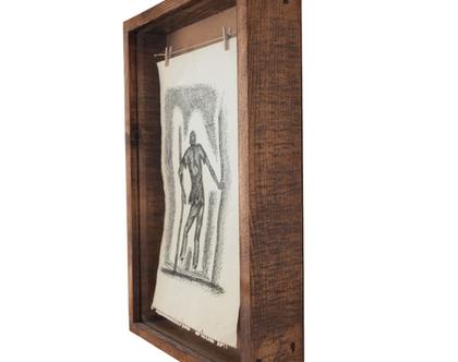 מסגרת מעוצבת לתמונה - חבל כביסה- עץ ממוחזר-בינונית