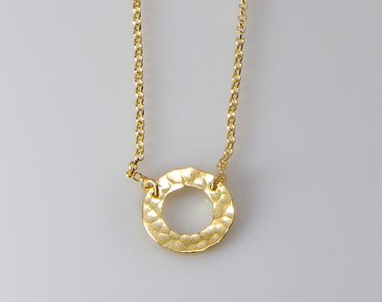 שרשרת עיגול זהב מרוקע, שרשרת זהב מרוקעת, עיגול מרוקע, שרשרת עדינה, שרשרת מעגל זהב, מתנה לחג