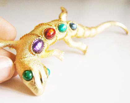 סיכת דש לטאה תכשיט זהב לבגד | סיכת לטאה ציפוי זהב קריסטלים צבעונים