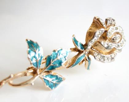 סיכת דש זהב ורד אלגנטית | סיכה וינטג' ורד אמייל וקריסטלים | סיכה תכשיט לבגד