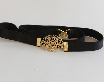 חגורות מותן שחורות - אבזם אליפסה זהב- חגורה לשמלה