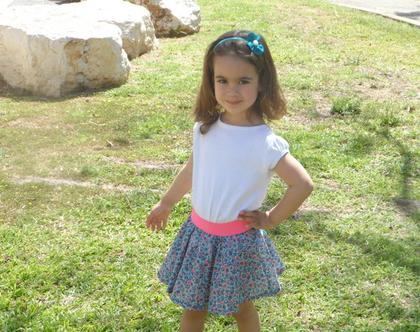 חצאית קיץ פרחונית לילדה חצאית מסתובבת עם גומי לבנות *משלוח חינם*