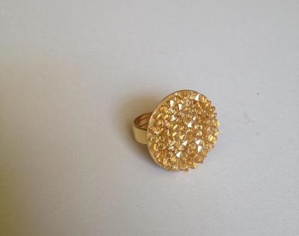 טבעת סברובסקי זהב - טבעת מתכווננת