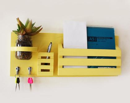 עיצוב הבית, אירגונית לדואר, מתנה מדליקהמתלה מפתחות מעוצב דגם ״גבריאל״ ,צהוב