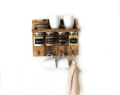 מדף מעוצב לתבלינים/ מדף לקפה- עץ ממוחזר