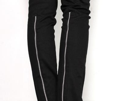 מכנס רוכסן בגב הרגל, מכנסיים שחורים, מכנסיים מיוחדים, מכנסי בד שחורים