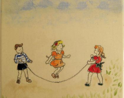 אריח ילדים קופצות בחבל -אריחים מצויירים - לעיצוב ה