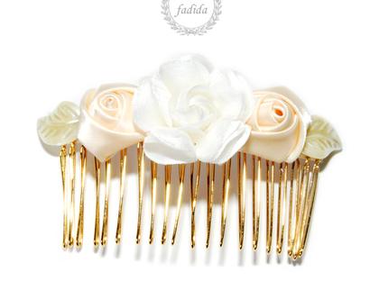 מסרקת פרחים לכלה - פרחים רומנטיים
