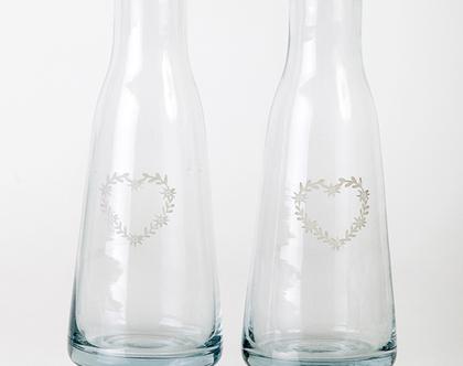 זוג קארף לב מזכוכית לרטבים/מים/חלב