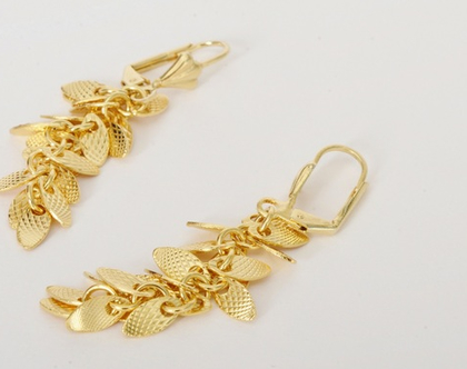 עגילי fall זהב -עגילים נתלים לכלה-עלים בציפוי זהב