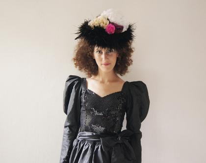 שמלה שחורה פייטים גוטקס 30% הנחה | שמלת ערב מעוצבת לאירוע | שמלת פייטים שחורה | מידה S