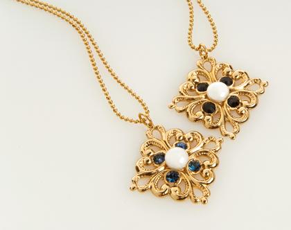 שרשרת זהב ארוכה ג'ני בשילוב קריסטלים ופנינה