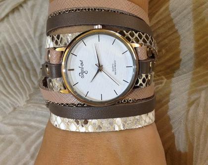 שעון רצועות עור מתלפף 3 צבעים