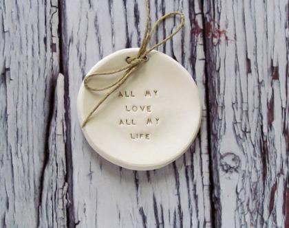 צלוחית לטבעות חתונה All my love all my life | מתנה לכלה מתנה למסיבת רווקות | אלטרנטיבה לכרית לטבעות נישואין