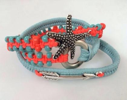צמיד כוכב ים עם חוט מקרמה וחרוזים - עבודת יד