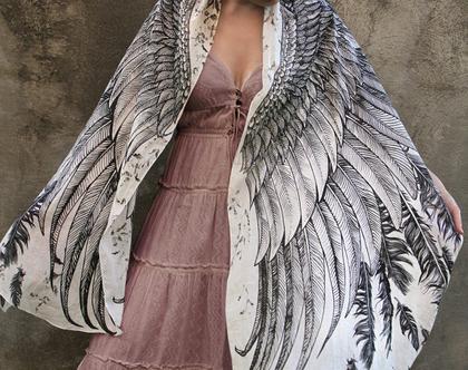 צעיף כנפיים בלבן