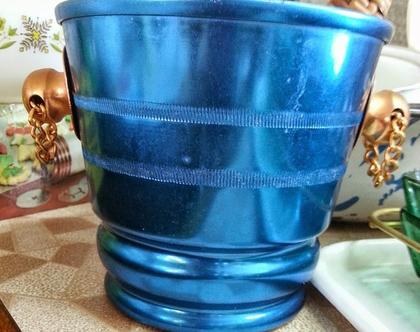 דלי אלומיניום כחול לקוביות קרח עם מלקחיים