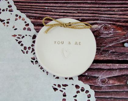צלוחית לטבעות נישואין You & me | מתנה לכלה | מתנה לחתונה | מתנה ליום נישואין | מתנה לאירוסין | כרית לטבעות