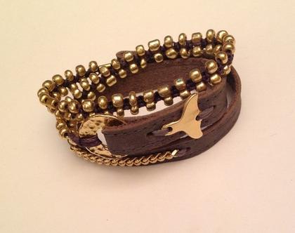 צמיד סנפיר זהב - 3 צמידים באחד - צמיד עבודת יד