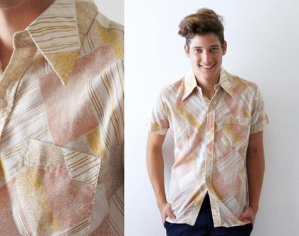 חולצה סבנטיז לגבר | חולצות מכופתרות | חולצות מיוחדות לגבר | חולצה לגבר משנות ה70' מידה M