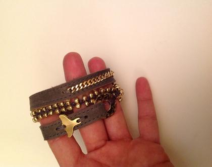 צמיד סנפיר זהב - 3 צמידים באחד - עבודת יד - צמידים