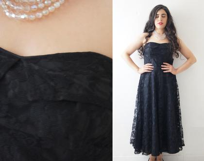 שמלת ערב תחרה שחורה סטרפלס 30% הנחה | שמלת סטרפלס שחורה לערב | שמלת וינטג' לאירוע | שמלת ערב תחרה שחורה