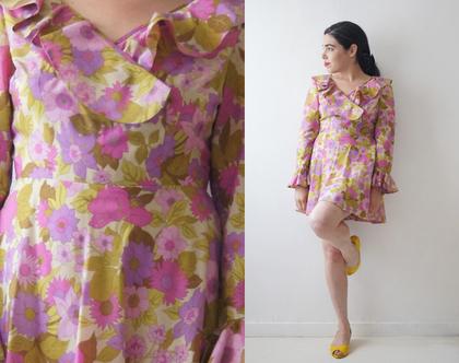 שמלת משי סיקסטיז פרחים פסטל 35% הנחה | שמלה פרחונית קצרה | שמלת משי נקי | שמלה מיוחדת