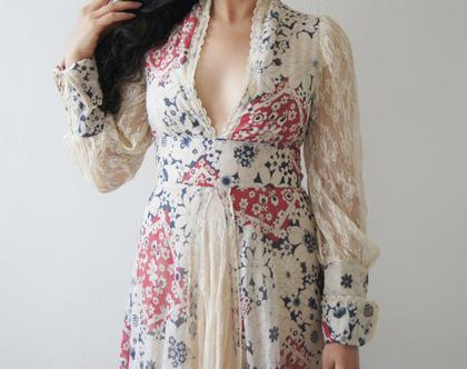 שמלת מקסי רומנטית סבנטיז בוהו שיק | שמלת פרחים ותחרה היפי שיק מקורית | שמלה וינטג' סבנטיז מיוחדת