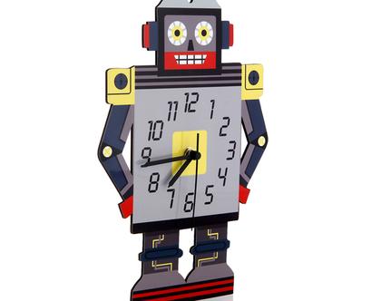 שעון קיר לחדר ילדים -רובוט אפור צהוב