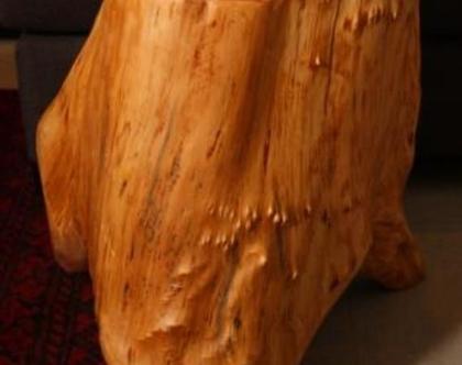 שולחן עץ גבוה עבודת יד