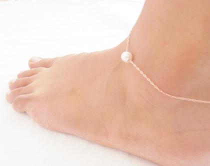 צמיד רגל גולדפילד 14k // צמיד רגל עם תליון פנינה מתורבתת // צמיד רגל לים // צמיד רגל קיץ 2019