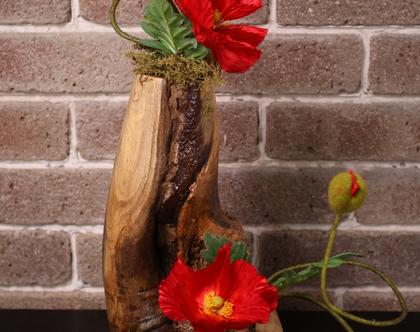 אגרטל עץ עבודת יד