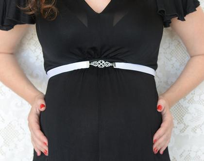 חגורת הריון - חגורה שחורה אבזם כסף - לשמלת הריון