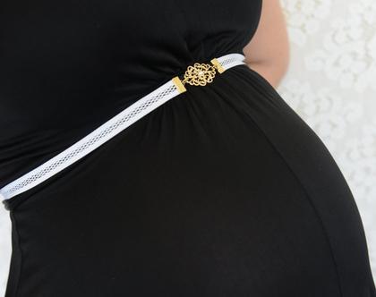 חגורות הריון חגורת רשת לבנה זהב חגורה לשמלת הריון