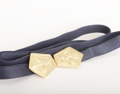 חגורת מותן כחולה אבזם זהב פלר- חגורת וינטג' אלסטית