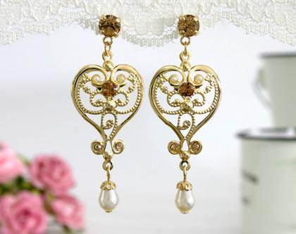 עגילי לב זהב, עגילי זהב פנינה, עגילים תלויים