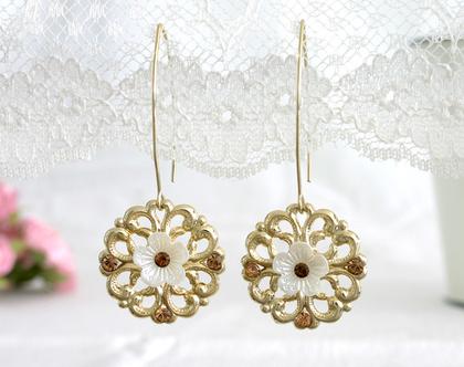 עגילי פרחים זהב, עגילי זהב ארוכים, תכשיטים מיוחדים לאירועים