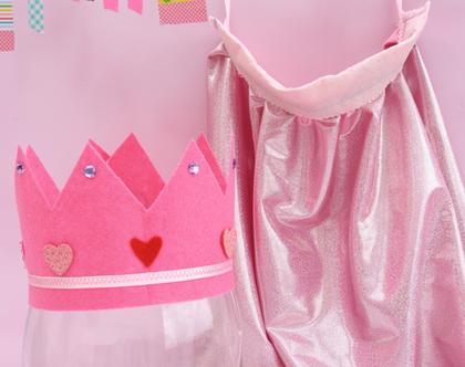גלימה ורודה | גלימה וכתר מתנה | גן ילדים
