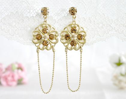 עגילי זהב תלויים ארוכים בסגנון אלגנטי, מתנה לאשה