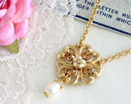 שרשרת זהב עדינה בסגנון רומנטי בשילוב קריסטלים ופנינה, שרשרת קטנה