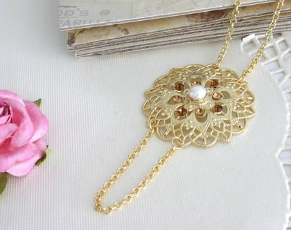 שרשרת זהב ארוכה בסגנון וינטג' עם קריסטלים בגוון שמפניה, מתנה לאישה