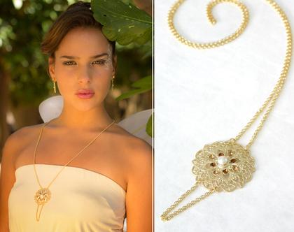 שרשרת זהב ארוכה לאישה בשילוב קריסטלים בגוון שמפניה, תליון בסגנון וינטג'